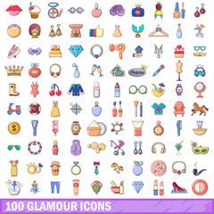 100 glamour icons set, cartoon style