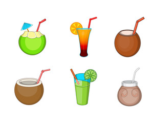 Cocktail icon set, cartoon style