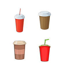 Plastic cup icon set, cartoon style