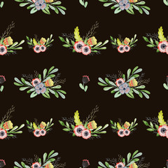 Watercolor floral seamless pattern Hand drawn background