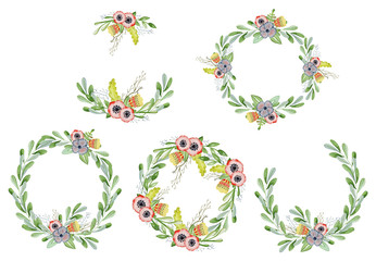 Watercolor floral set with wreaths hand drawn illustration. Tribal flowers, leaves and branch