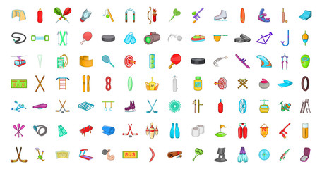 Sport equipment icon set, cartoon style