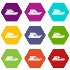 Yacht icon set color hexahedron