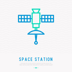 Space station with satellite thin line icon. Modern vector illustration.