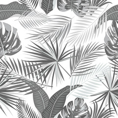 Gray tropical palm leaves seamless pattern