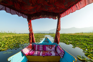 Beautiful view from the traditional shikara boat on Dal lake, Srinagar, India.