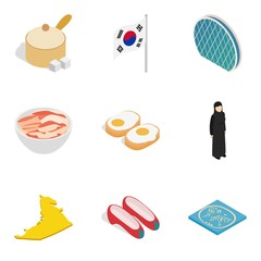 Asian country icons set, isometric style