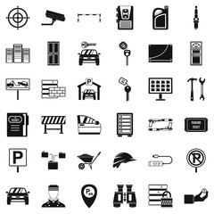Privacy icons set, simple style