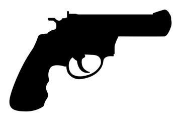 Revolver gun. Black silhouette drawing