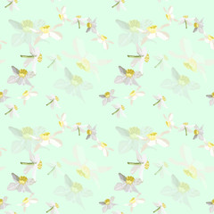 Seamless pattern flowers of daffodils on a green background In pastel colors