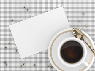3d render of coffee with blank card