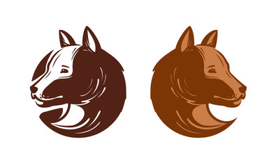 Dog logo or label. Pet, puppy, animal symbol. Vector illustration