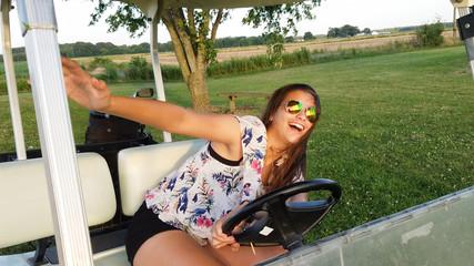 Having a blast driving golf cart