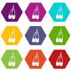 Pointe shoes icon set color hexahedron