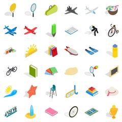 Kid icons set, isometric style