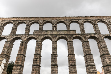 The Aqueduct of Segovia, one of the best-preserved elevated Roman aqueducts. It is the symbol of Segovia, as evidenced by its presence on the city's coat of arms.
