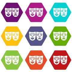 Happy and sad mask icon set color hexahedron