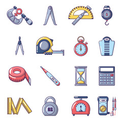 Measure precision icons set, cartoon style