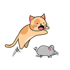 Cat and Mouse Cartoon Vector