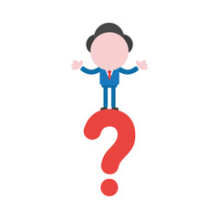 Vector illustration concept of faceless businessman character on question mark