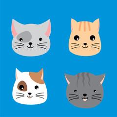 Cat Faces Cartoon Vector