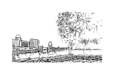 Hand drawn sketch of New Year fireworks, Singapore in vector illustration.