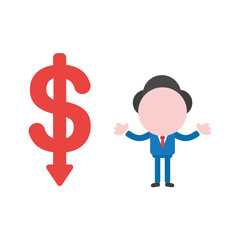 Vector illustration concept of faceless businessman character and dollar symbol with arrow moving down