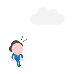 Vector illustration concept of surprised faceless businessman character look at cloud above