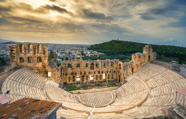 Acrylic Prints Athens The theater of Herodion Atticus under the ruins of Acropolis, Athens, Greece.