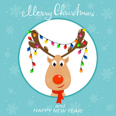 Head of reindeer with Christmas lights on blue background