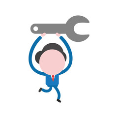 Vector illustration concept of faceless businessman character holding up, running and carrying spanner