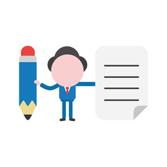 Vector illustration concept of faceless businessman character between and holding pencil and written paper