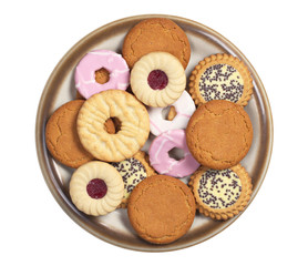 Different cookies in a plate