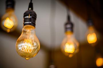 Bulb Lighting Decor with bokeh background