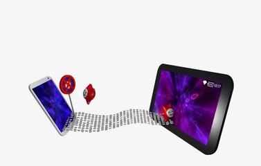 Datenstrom zwischen einem Handy und Tablet. Vor dem Handy steht ein wütender Virus vor einem Antivirenschild, in das tablet, ohne Virenschutz, dringt ein glücklicher Virus ein.