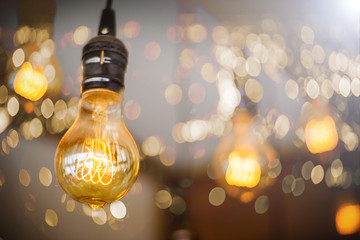 Bulb Lighting Decor with bokeh background