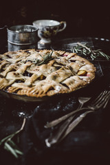 Blueberry Peach Pie with Rosemary