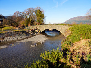 The new stone bridge over Newlands Beck at Little Braithwaite in the English Lake District after the floods of 2009. UK.
