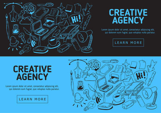 Creative Agency Website Banner Design With Artistic Cartoon Hand Drawn Sketchy Line Art Drawings Illustrations Of Essential Related Objects Of Every Day Working Things And Tools.