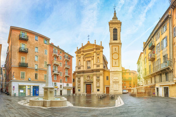 Photo sur Plexiglas Nice Nice Cathedral made in baroque style located on Place Rossetti square in Nice, Alpes-Maritimes, France