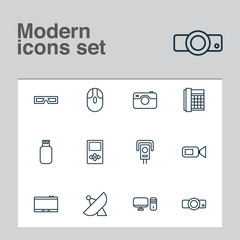 Device icons set with cctv, usb, photo apparatus and other work phone