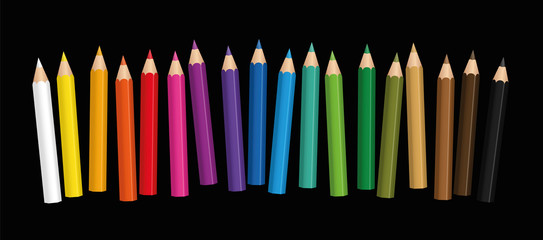 Short crayons - small colored baby pencil collection loosely arranged - isolated vector illustration on black background.