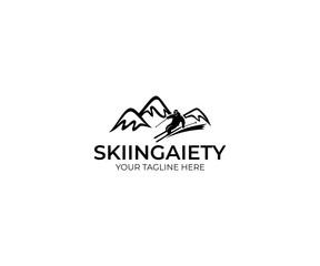 Skiing Logo Template. Mountains and Skier Vector Design. Slalom Illustration