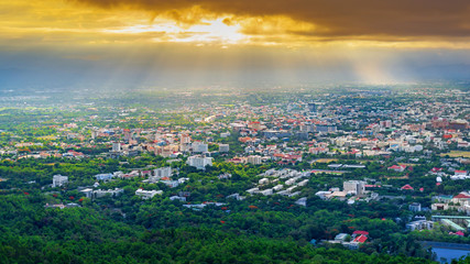 the Aerial Panorama View of Chiang Mai City with sunrise and clouds, Thailand