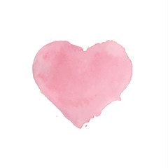 Watercolor painted pink heart on white background. Vector illustration