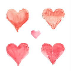 Set of watercolor painted red heart on white background. Vector illustration