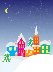 Flat vector image with christmas houses. Winter landscape with small houses. New Year picture for designer