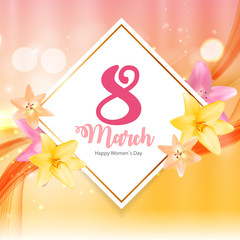 Poster International Happy Women's Day 8 March Floral Greeting c