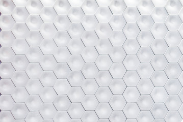 Hexagonal wall texture surface. White abstract pattern background.