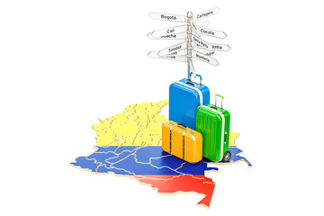 Colombia travel concept. Columbian map with suitcases and signpost, 3D rendering